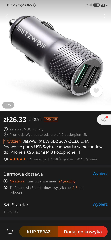 Ładowarka samochodowa Quick Charge 3.0 30W BlitzWolf $6,99