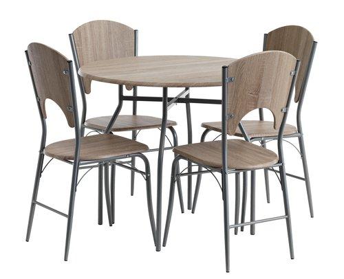 Stół okrągły 90cm + 4 krzesła THYHOLM DĄB za 485zł (możliwe 465zł) @ Jysk