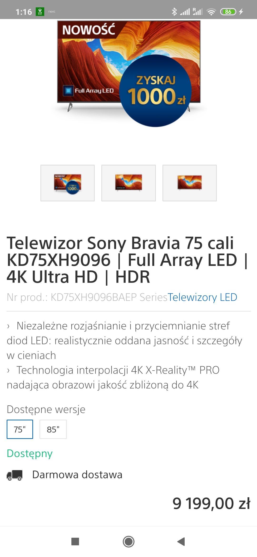 Sony 75 XH9096 8199 po Cashbacku