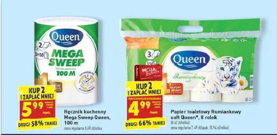Ręcznik kuchenny Queen Megasweep 100m | Papier toaletowy Rumiankowy soft Queen 8 rolek przy zakupie 2 opak (z kartą Moja Biedronka)
