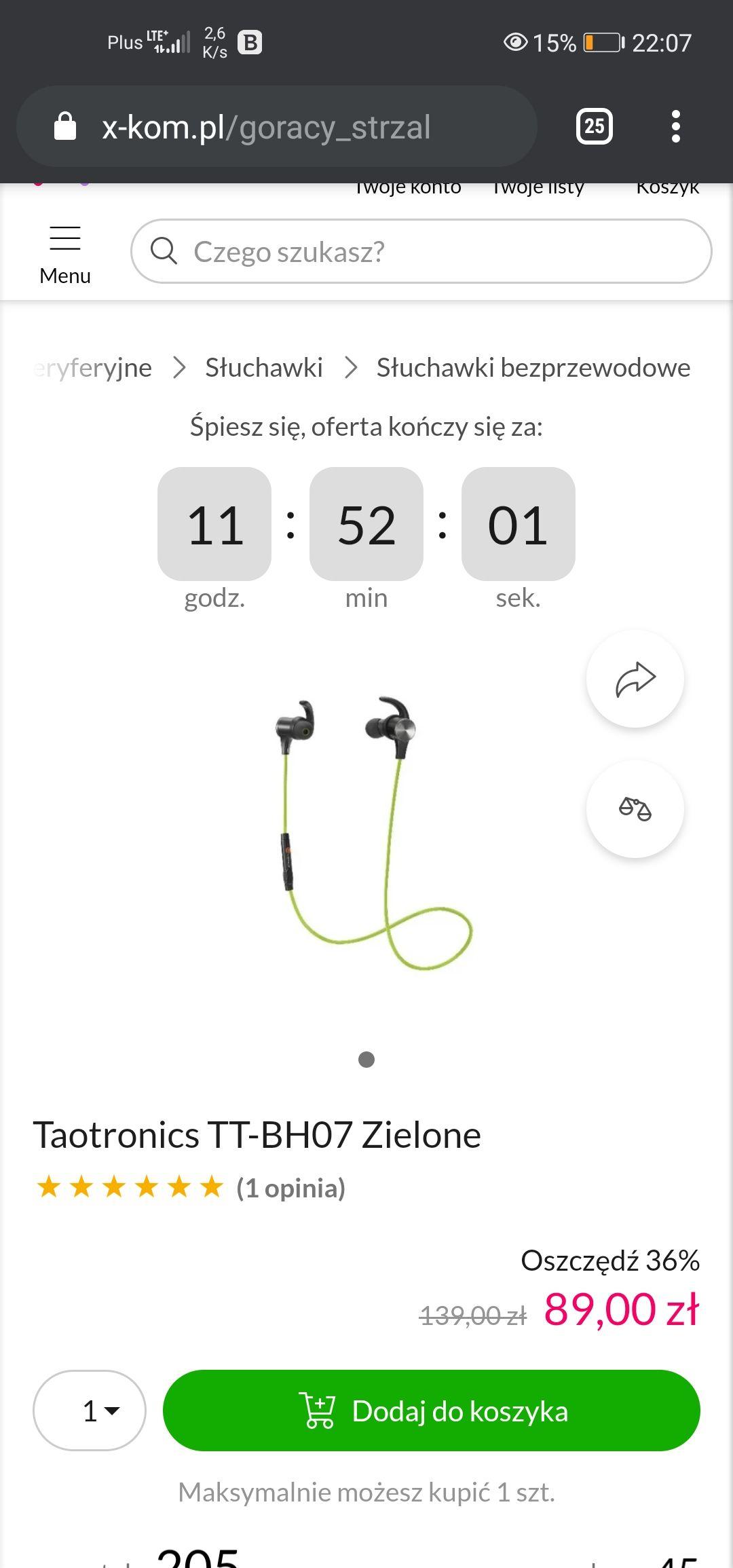 Taotronics TT-BH07 Zielone