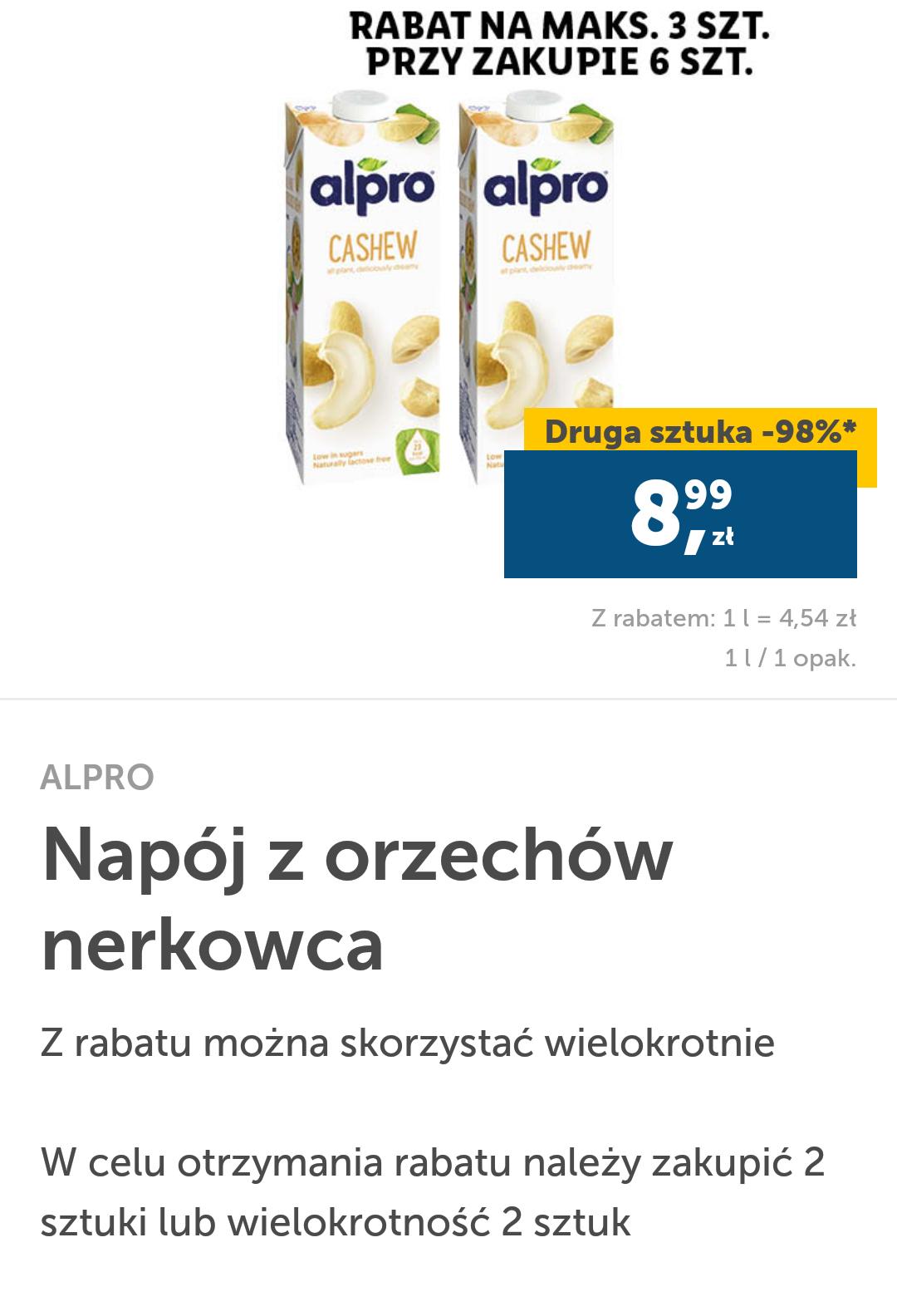 Lidl Plus Napój z orzechów nerkowca drugi -98%