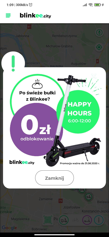 Blinkee - darmowe odblokowanie hulajnogi w godzinach 6:00-12:00 - hulajnoga elektryczna