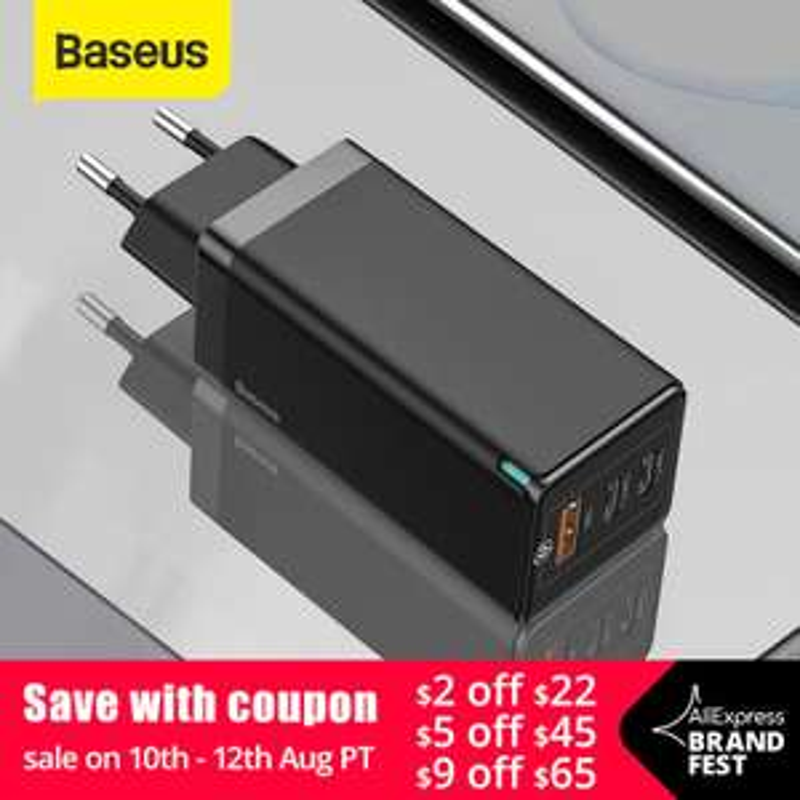 Ładowarka sieciowa BASEUS GaN 65W (TYP-C/USB QC4.0, PD min. do MacBooka) @ AliExpress