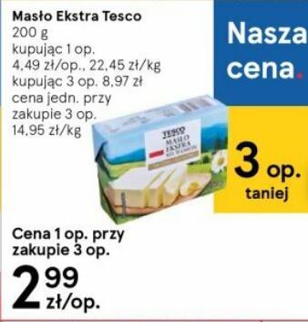 Masło Ekstra 200g Tesco przy zakupie 3 szt. @Tesco