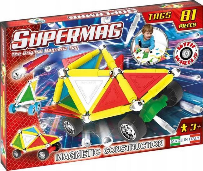Supermag klocki magnetyczne Tags Wheels 81 el (a wersja 143el. za 129,90zł)