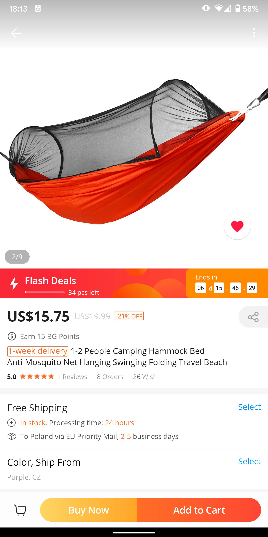 Hamak z moskitiera 270cm, szybka dostawa z CZ, $15.75