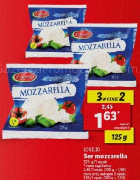 Ser mozzarella Lovilio 125g przy zakupie 3szt. Lidl