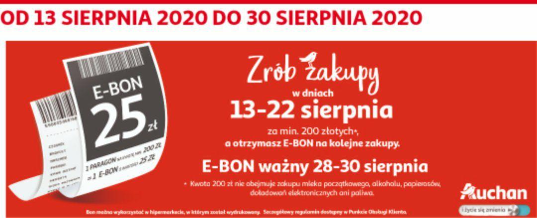 25 PLN w formie e-bonu za wydane 200 PLN w Auchan