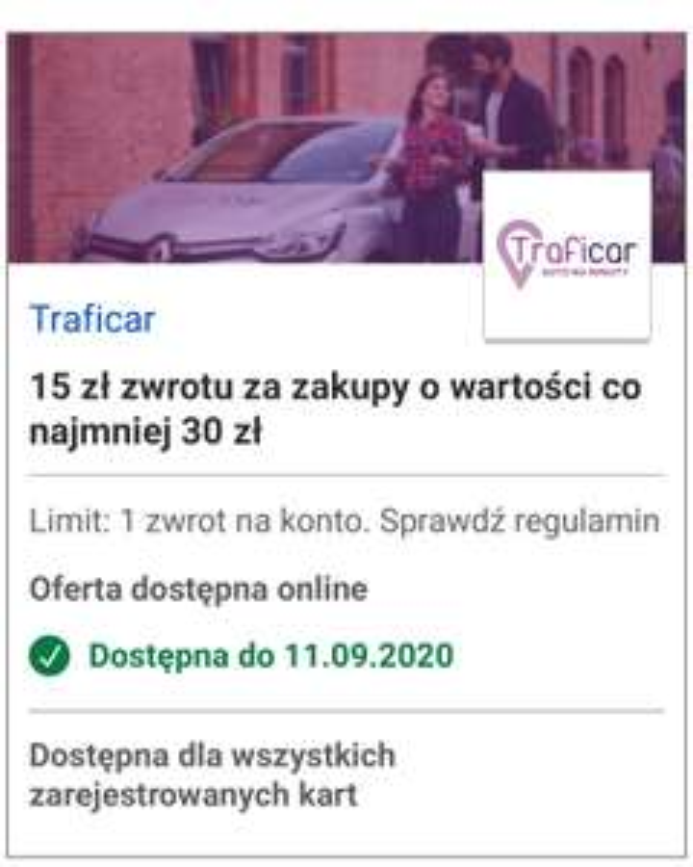 Traficar 15 zł zwrotu za zakupy od 30 zł @visaoferty