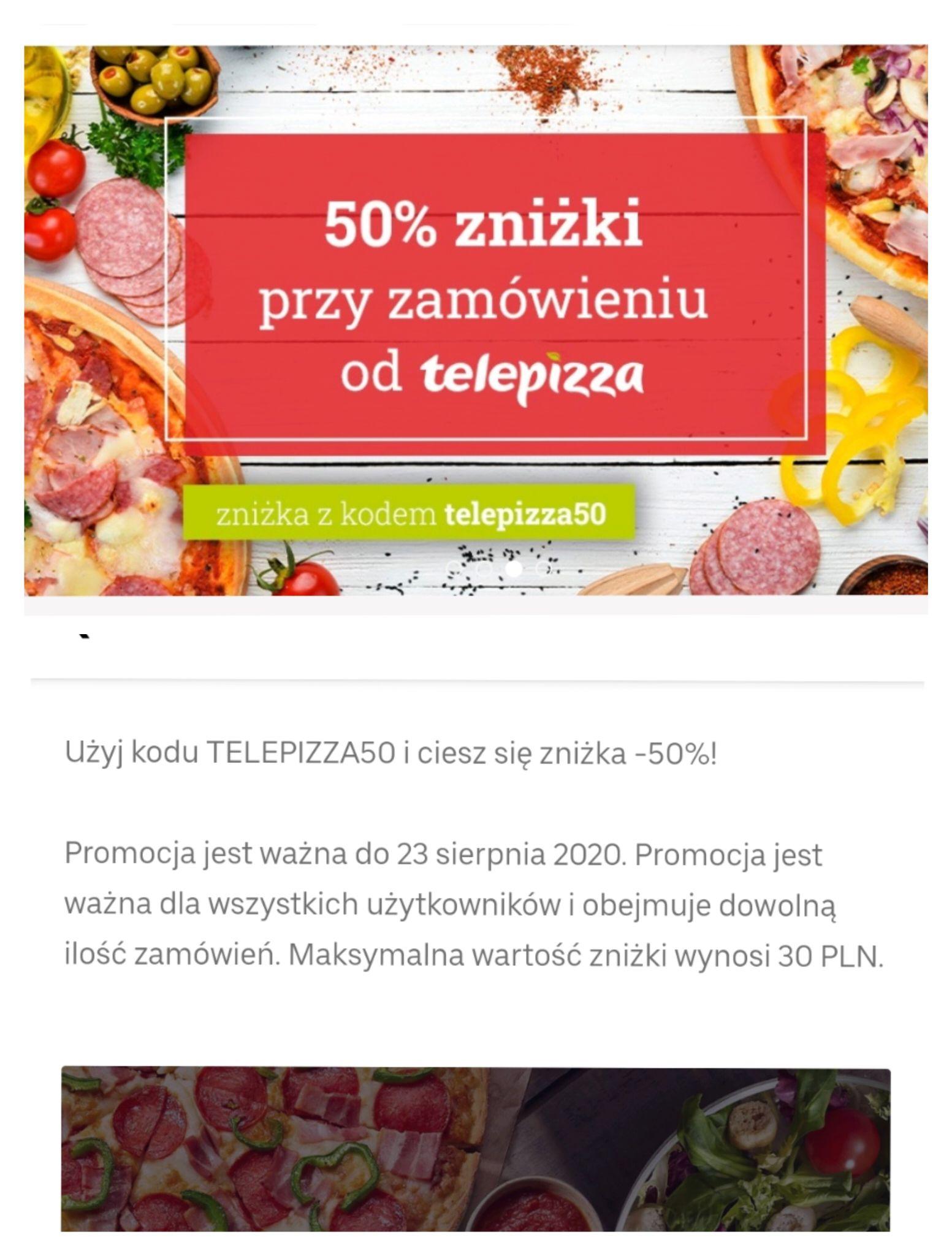 TELEPIZZA -50% na zamówienie (max do 30 PLN zniżki)/ Uber eats - 3x średnia pizza za 26,98 z odbiorem osobistym