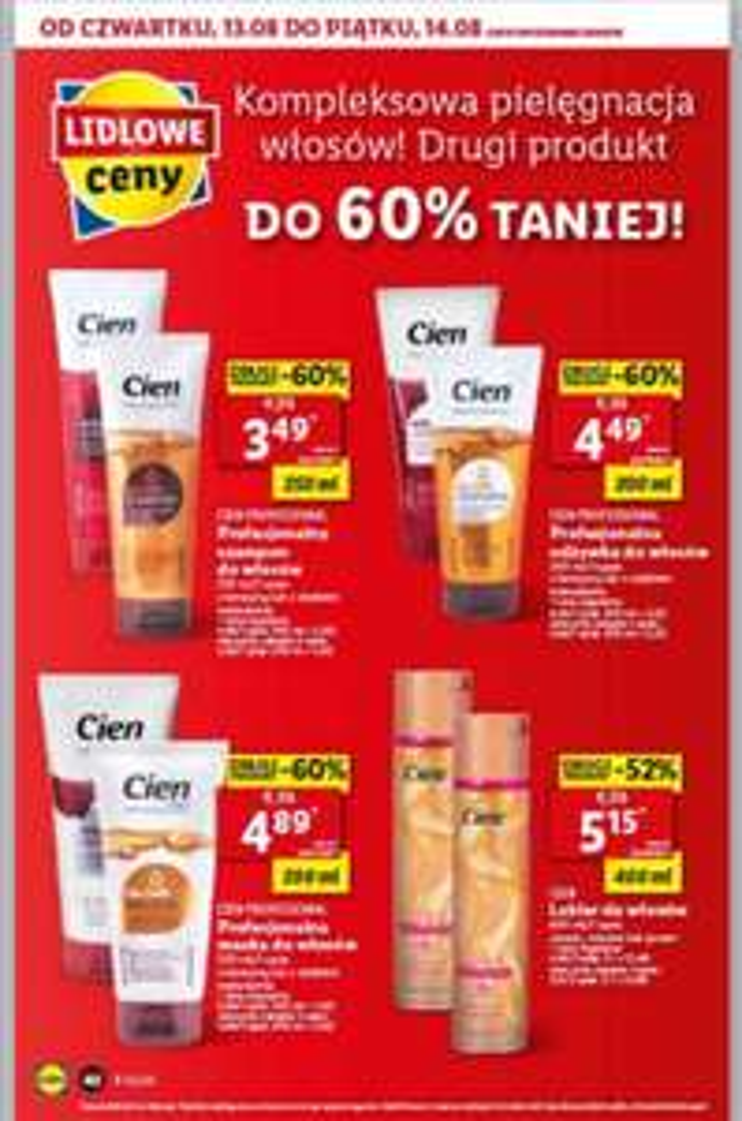 Produkty do włosów druga sztuka do -60% taniej Lidl