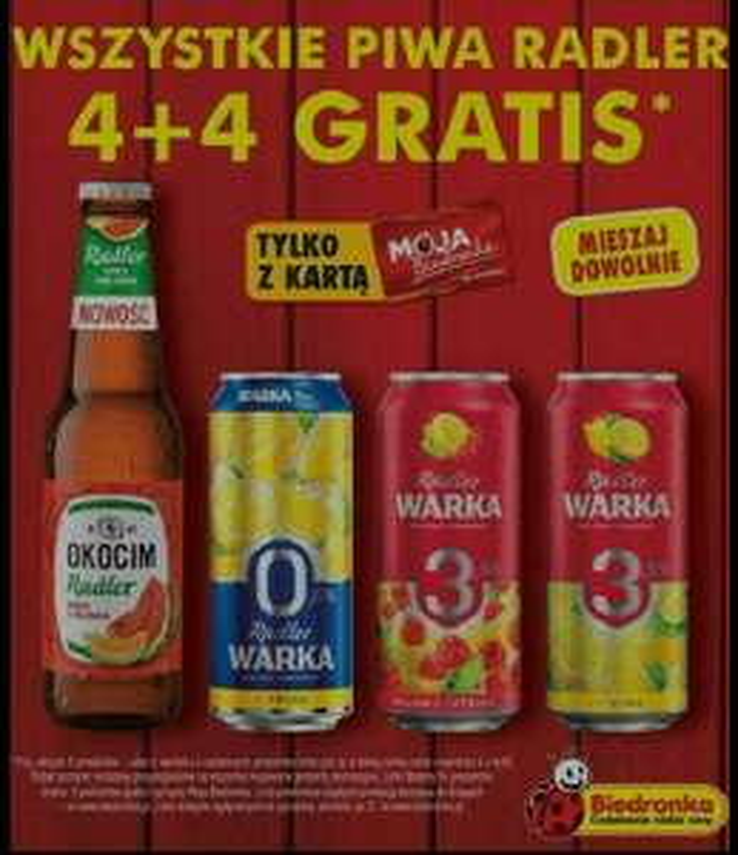 Biedronka, piwa radler 4+4 gratis (max 16 sztuk)