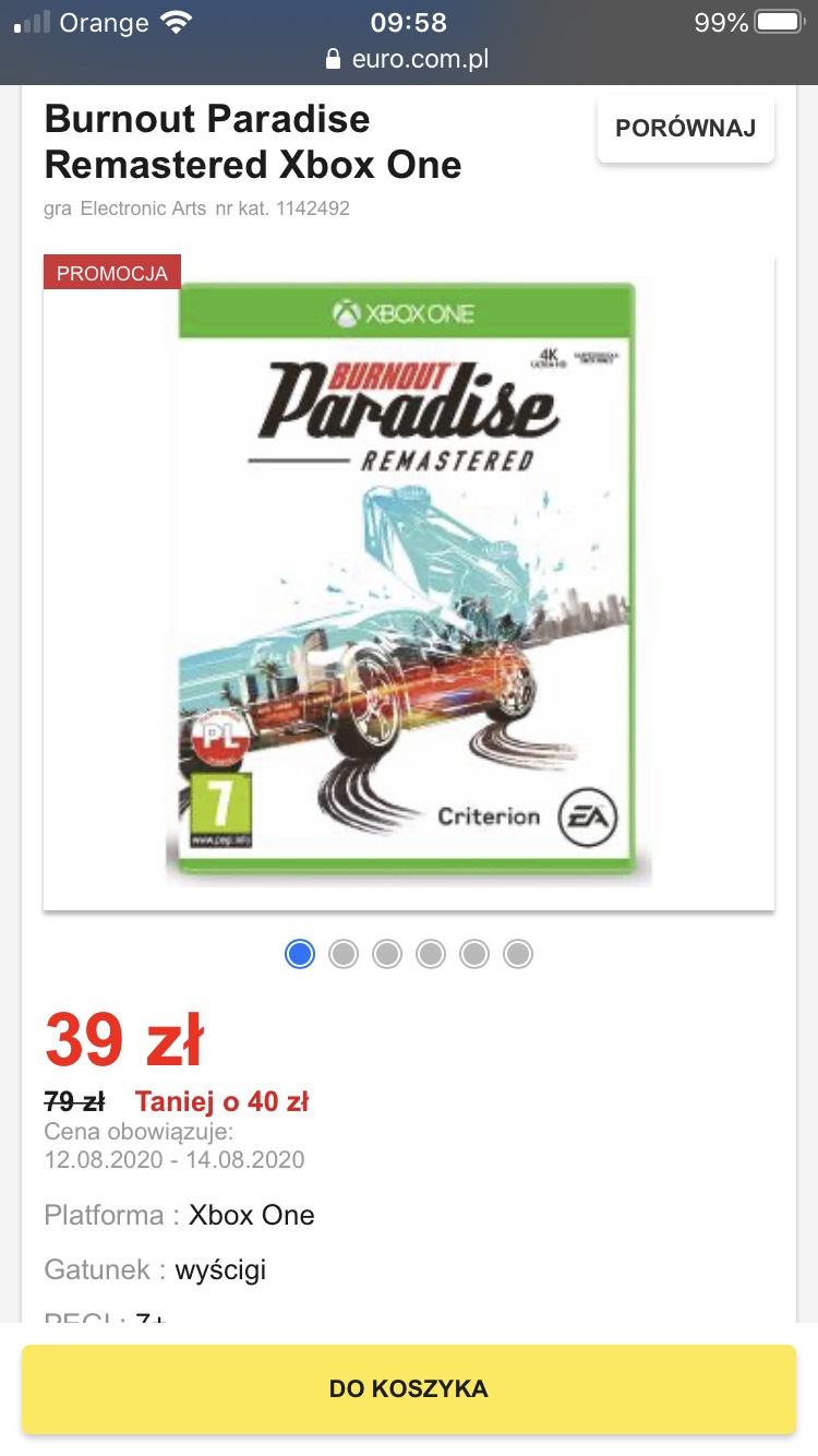 RTVeuroAGD Burnout Paradise Remastered Xbox One.