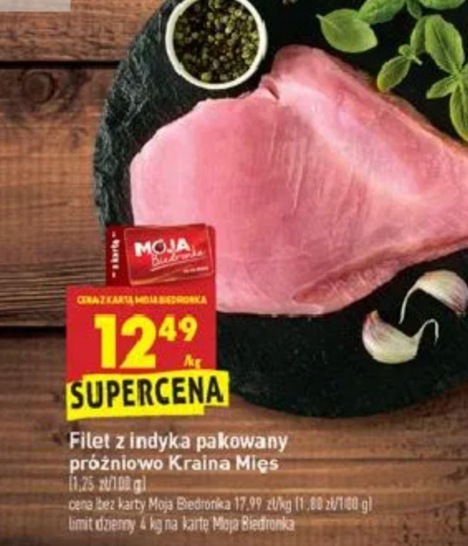 Filet z piersi indyka dobra cena 12.49 zł/kg.