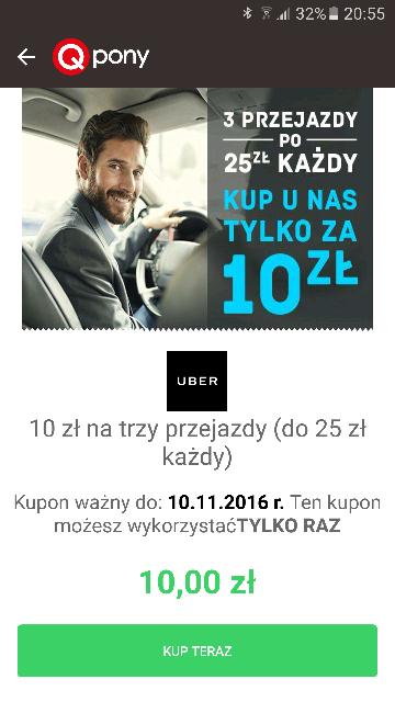 3 przejazdy Uber za 10zł (3.33zł/przejazd) QPONY