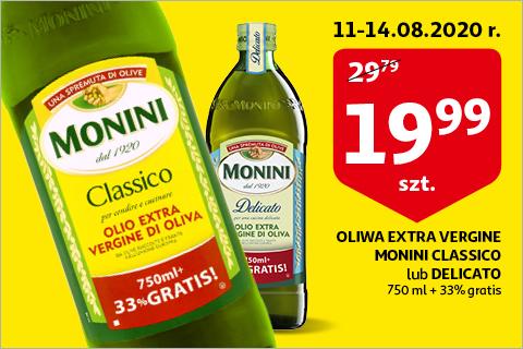 Monini Oliwa z oliwek Extra Vergine CLASSICO albo DELICATO 750ml +33% gratis na auchan