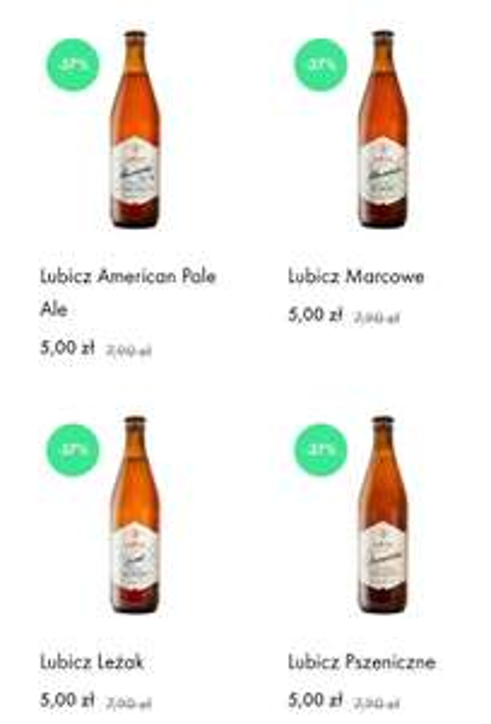Browar Lubicz piwo Kraft 90 zł za 20 piw (4,50 zł / szt)