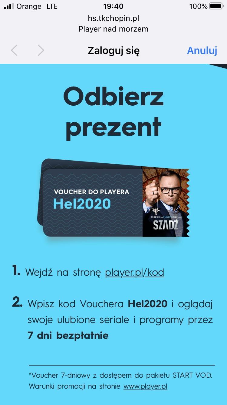 Player.pl kod na 7 dni pakiet start VOD