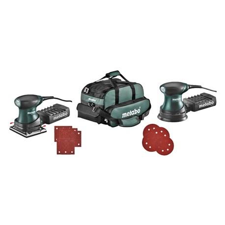METABO FSR 200 + FSX 200 Szlifierka mimośrodowa i oscylacyjna + 30 szt. papieru oraz walizka