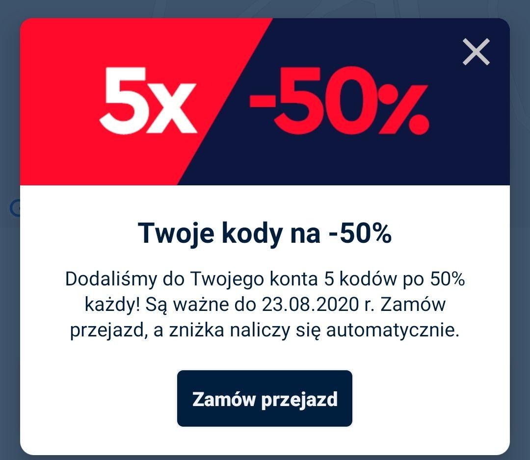 Freenow 5x50% na przejazdy
