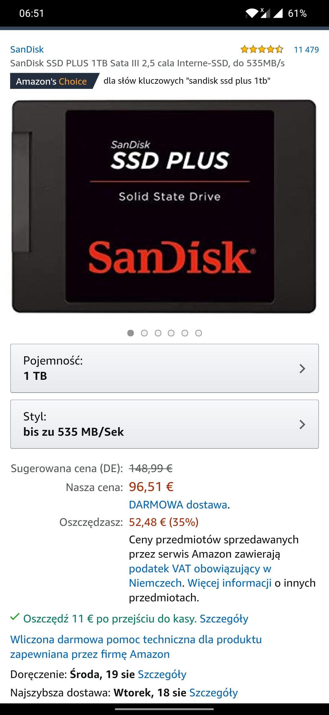 Dysk SanDisk-PLUS-Sata-Interne-SSD 1 tb- 85 euro