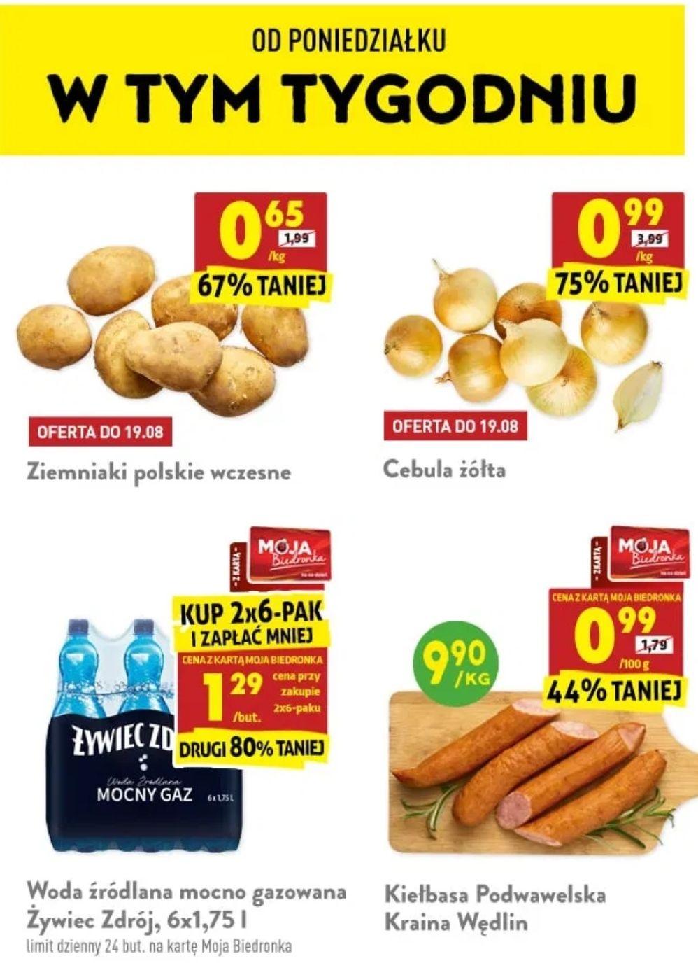 Ziemniaki za 0.65zł/kg, Cebula 0.99zł/kg, Ćwiartka z kurczaka 2.39zł/kg Silan 1,8l, KitKat, Chipsy Lays,mleko Nan OptiPro i inne - Biedronka