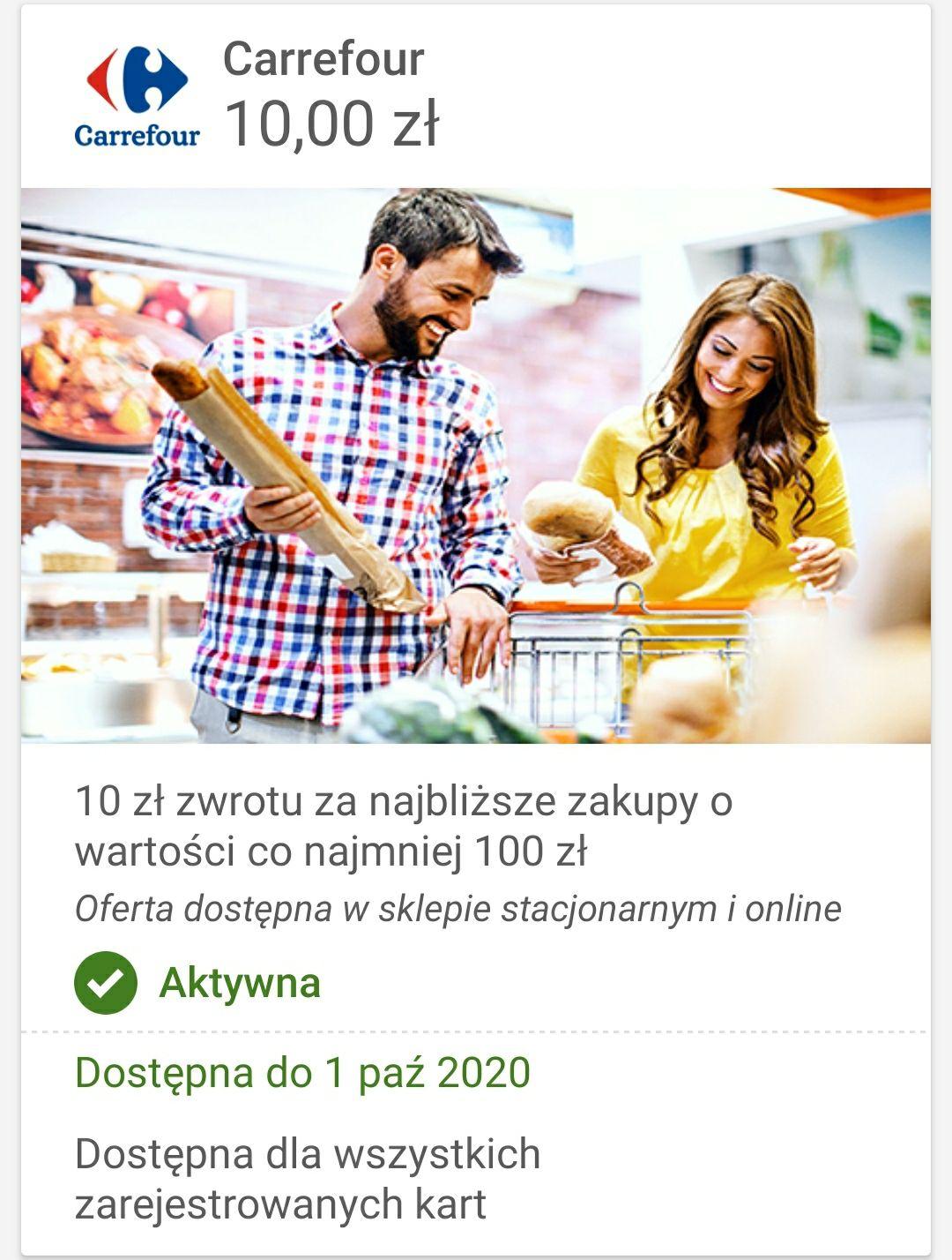 10zl zwrotu Carrefour z Visa Oferty