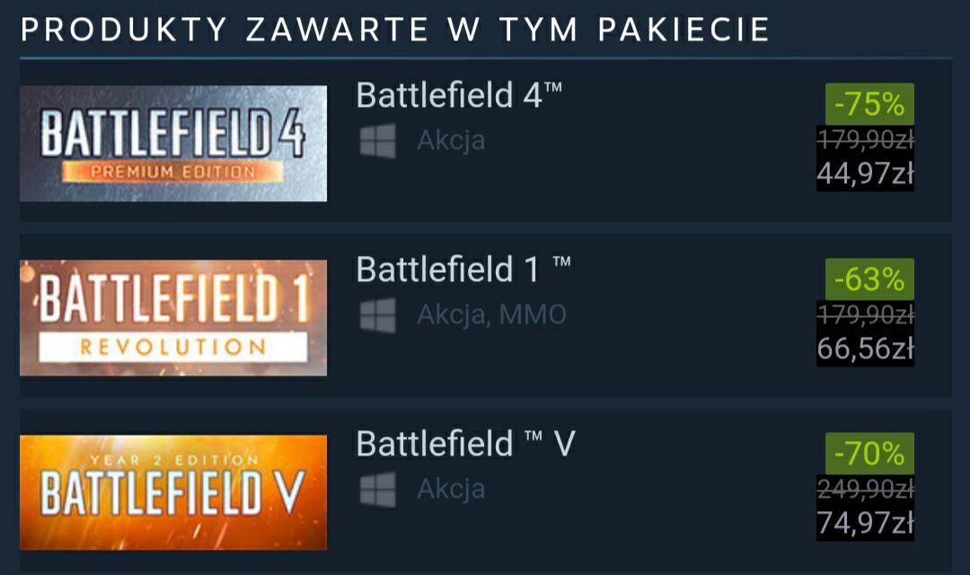 Battlefield bundle 139zł na steam, BATTLEFIELD 4 Premium Edition, BATTLEFIELD 1 Revolution Edition, BATTLEFIELD V Year 2 Edition