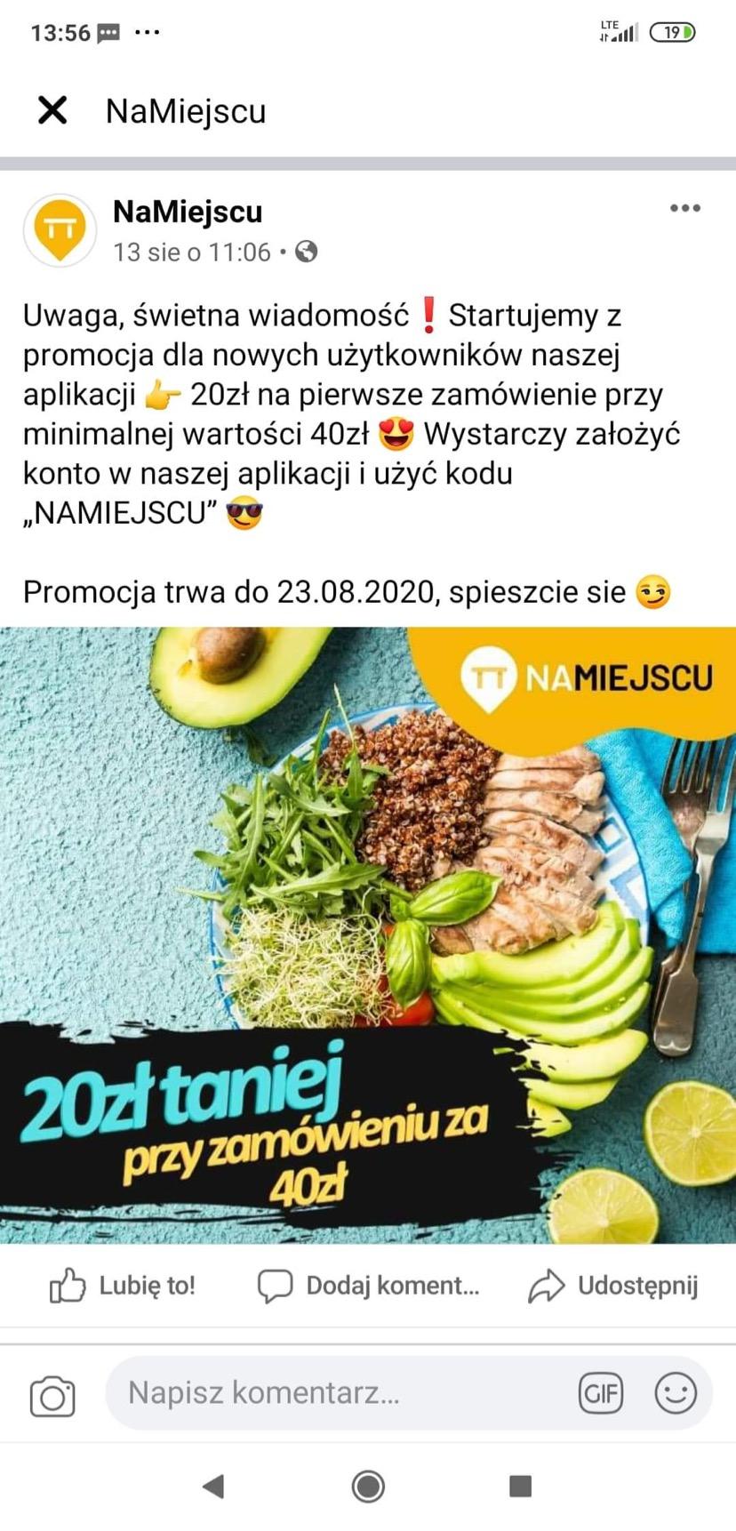 -20zl do wykorzystania na jedzenie w apce NaMiejscu przy MWZ40 (Krakow)