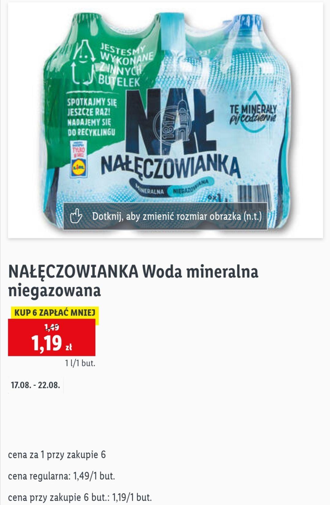 Nałęczowianka woda mineralna niegazowana 1L, cena przy zakupie 6szt