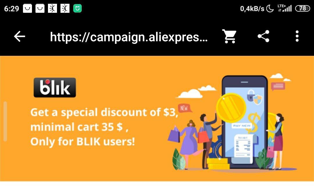 Zniżka 3$/35$ na aliexpress przy płatności blik