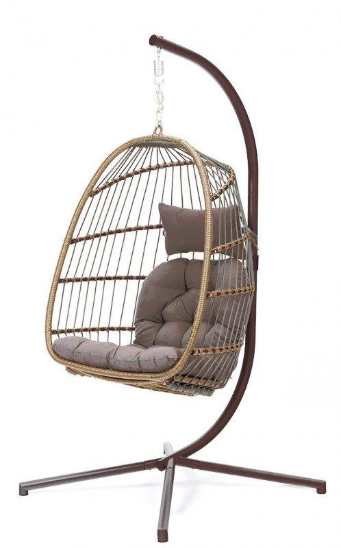 Fotel wiszący składany - kolor brązowy i ciemnoszary