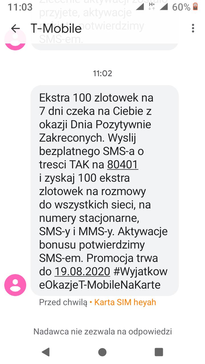 T-Mobile na kartę daje 100 zł na rozmowy, na 7 dni.