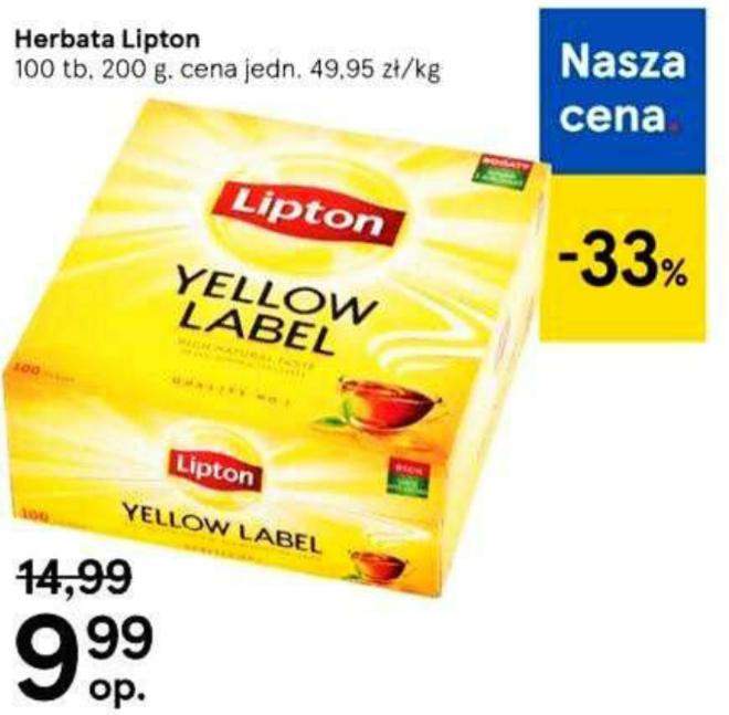 Herbata Lipton Yellow Label 100 tb. Tesco