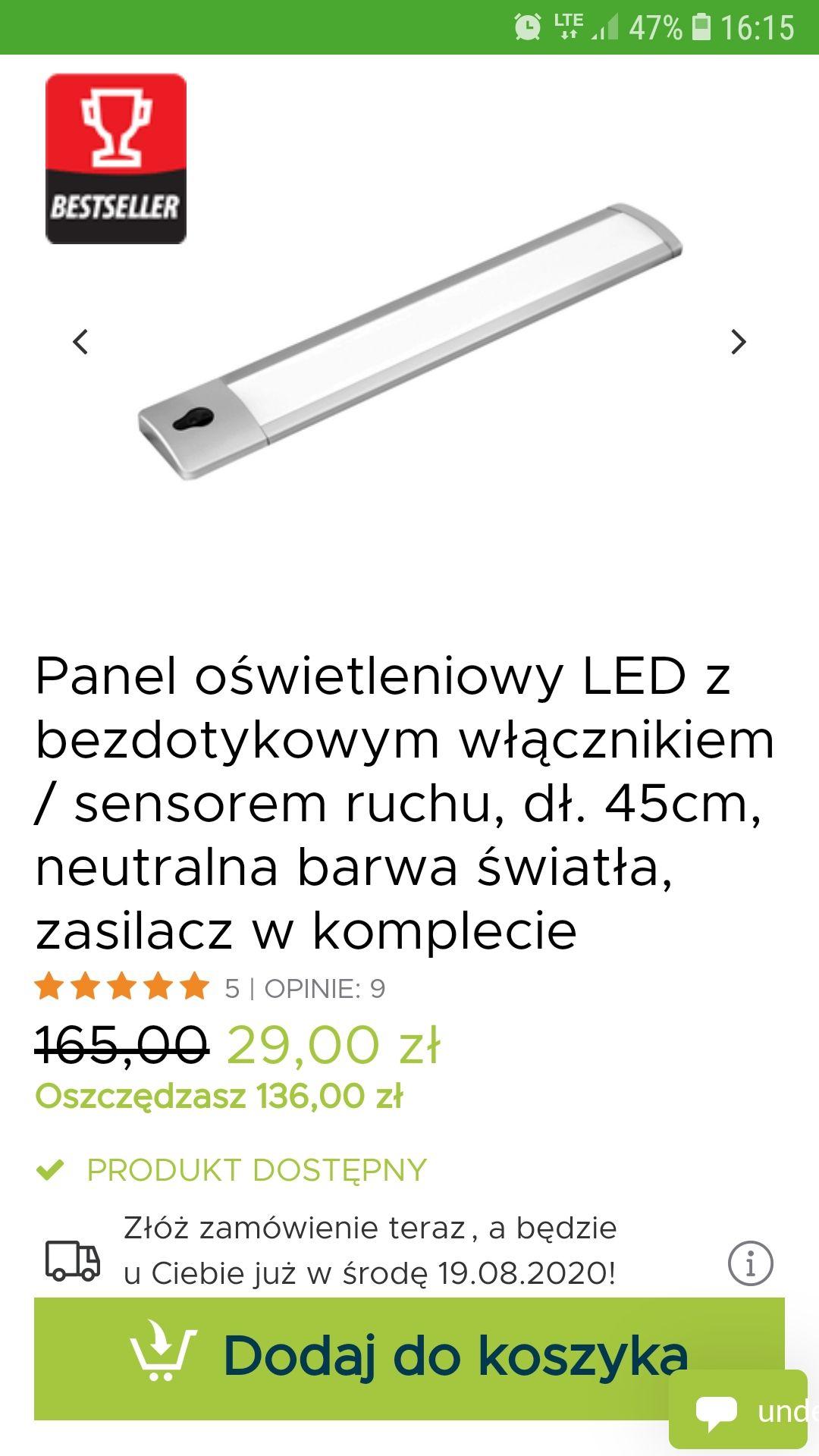 Listwa LED z czujnikiem ruchu. 45cm