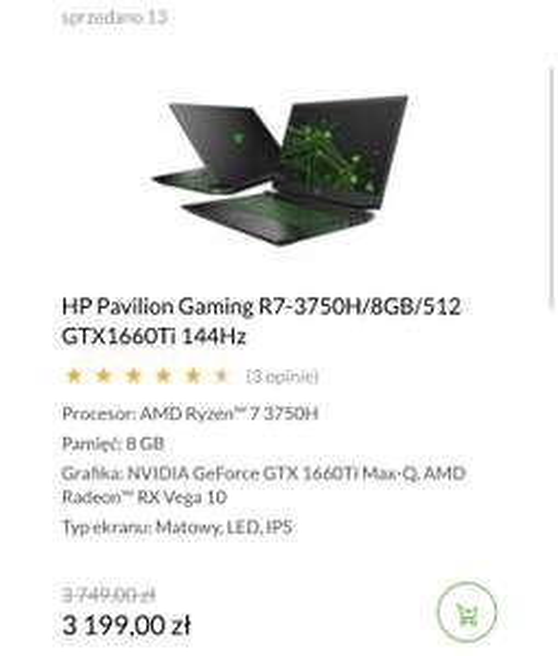 Laptop HP Pavilion Gaming R7-3750H/8GB/512 GTX1660Ti 144Hz