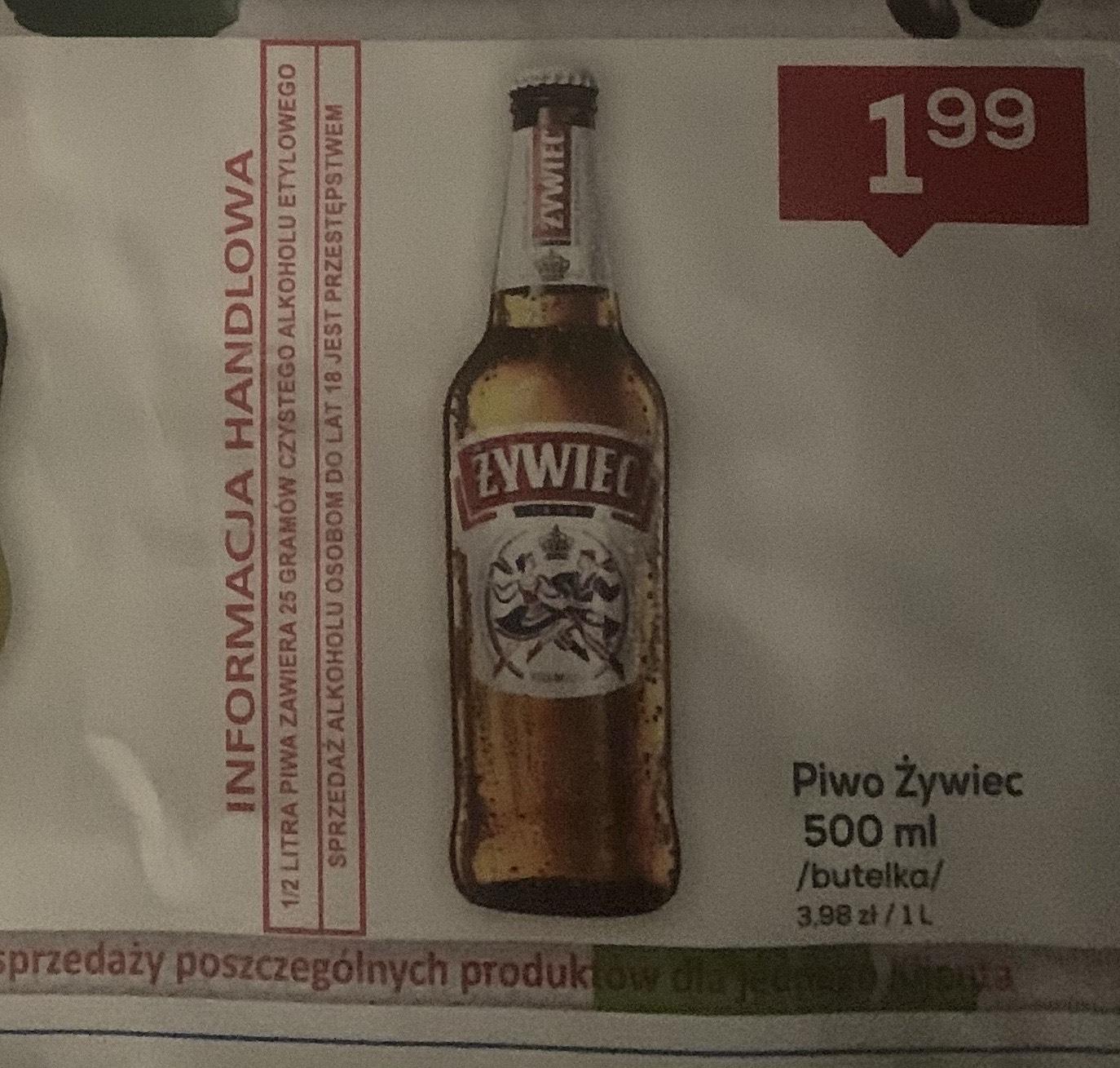 Piwo Żywiec 0,5 l Lewiatan Sedziszow