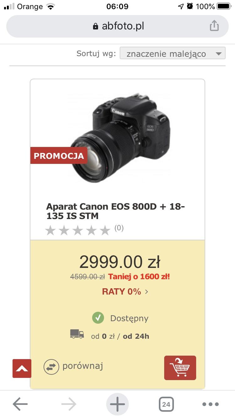 Aparat Canon EOS 800D + 18-135 IS STM