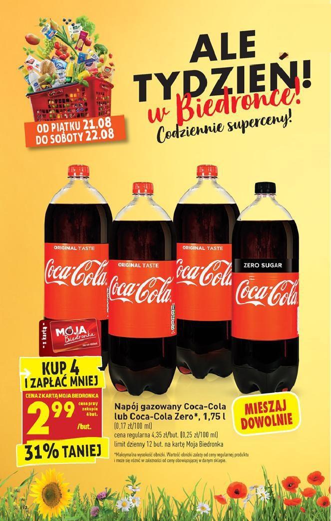 Kup 4x Coca Cola 1,75l i zapłać 2.99zł/but z kartą - Biedronka