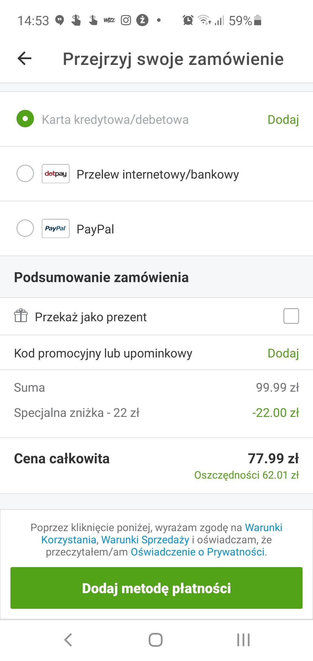 -22 zł na pierwszy zakupu z aplikacji Groupon