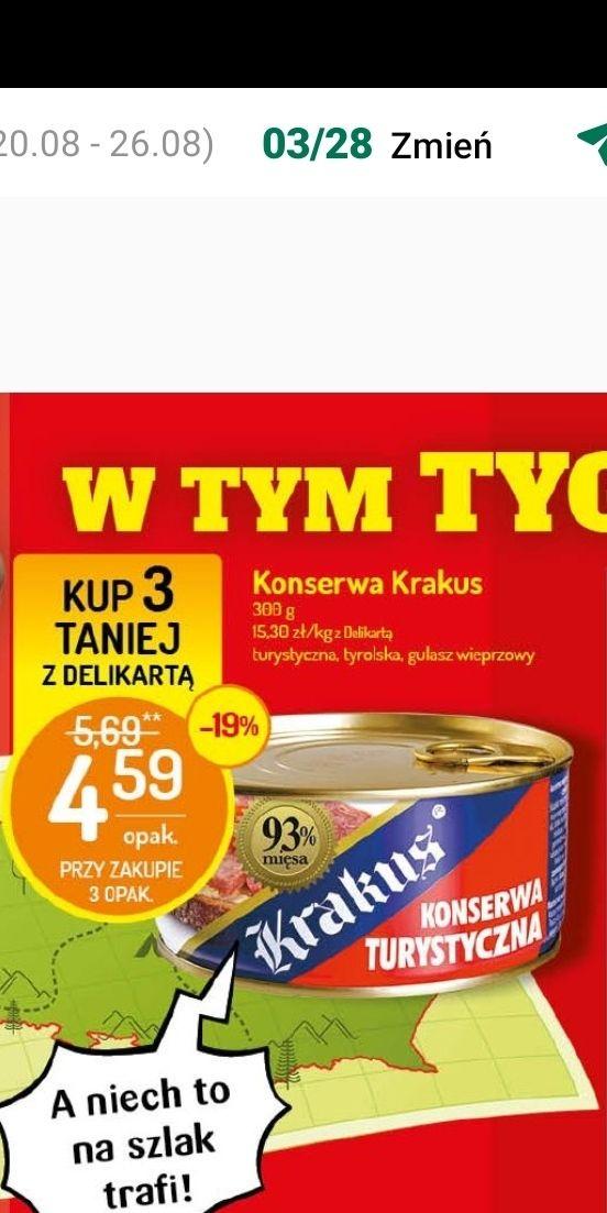 Delikatesy Centrum: Konserwy Krakus - 4,59 zł za szt. przy zakupie 3 sztuk z użyciem Delikarty.