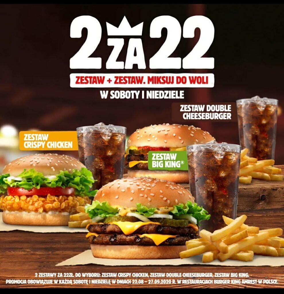 2 zestawy za 22 zł w Burger King w soboty i niedziele