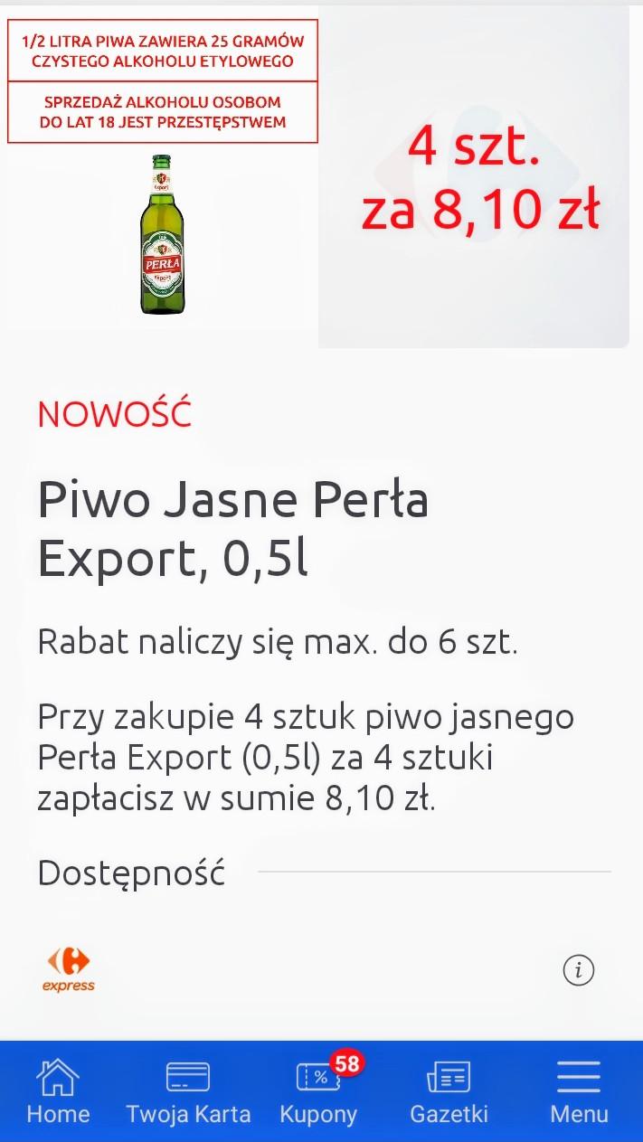 Piwo Jasne Perła Export cena z kuponem w aplikacji za 4szt w sieci sklepów Carrefour Express Convenience.Cena za sztukę około 2,03