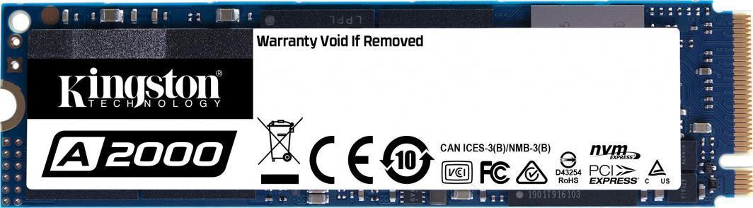 Dysk SSD NVMe Kingston A2000 500GB (odczyt 2200MB/s, zapis 2000MB/s)