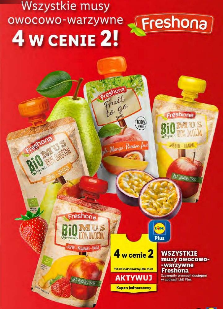 Wszystkie musy owocowo-warzywne Freshona, 4 w cenie 2. Lidl