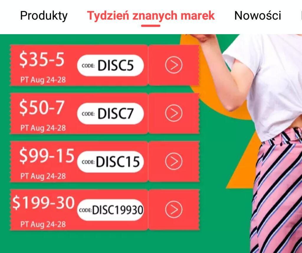 Kody zniżkowe do Aliexpress ważne od 24 do 29 sierpnia