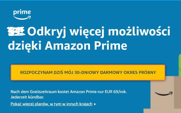 Amazon Prime .de 30 dni gratis dla obecnych użytkowników