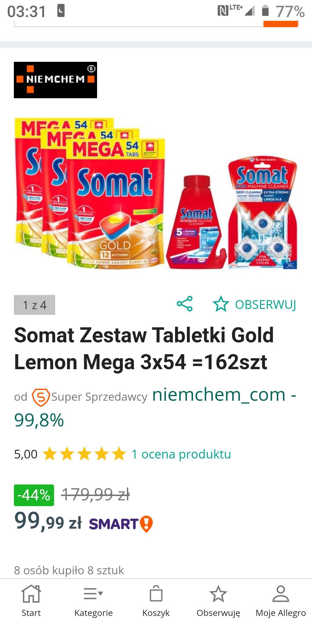 Somat Zestaw Tabletki Gold Lemon Mega 3x54 =162szt