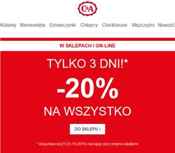 -20% na WSZYSTKO w C&A